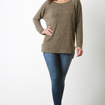 Back Button Accent Long Sleeves Sweater Top
