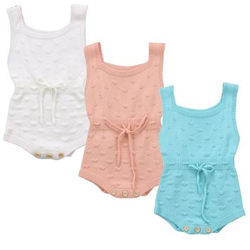 Autumn Winter Newborn Baby Boy Girl Sleeveless Knit Romper