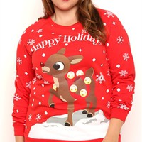 Plus Size Long Sleeve French Terry Top with Snowflake Rudolph Print
