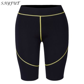 SAYFUT Women Men's Waist Trainer Workout Weight Loss Shorts Hot Slimming Sweat Neoprene Body Shaper Sportwear Control Pants