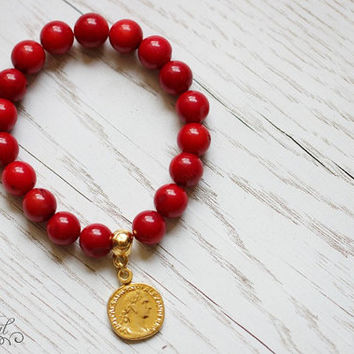 Genuine red coral bracelet with gold plated coin, Beaded bracelet, Charm bracelet with red coral