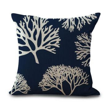 Beautiful Navy and Off-White Accent Pillow Covers
