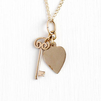 Vintage Charm Necklace - 14k Rosy Yellow Gold Filled Key to Heart Pendant - 50s Retro Love Key Lock Charm 14k GF Chain Jewelry Signed Winard
