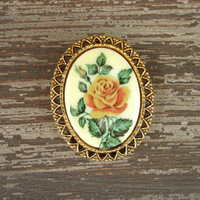 Vintage Rose Brooch or Pendant, Flower Pin, Gold Tone Filigree Brooch, Peach or Golden Yellow Rose, Victorian Baroque Style Estate Jewelry