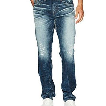 True Religion Men's Geno Slim Straight Jeans with Back Flap Pockets, Midnight Warehouse, 38