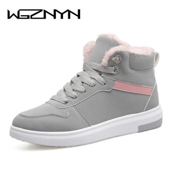 WGZNYN 2017 Women Winter Boots Warm Platform Snow Ankle Boots Women Casual Shoes Round Toe Sneakers Female Botas Mujer #0402