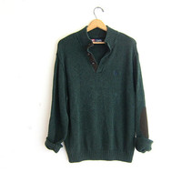 vintage oversized loose fit green henley sweater // elbow patches // Chap's Sweater / men's size XL