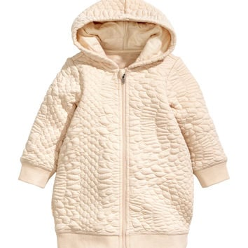 H&M - Textured Hooded Jacket - Pink glitter - Kids