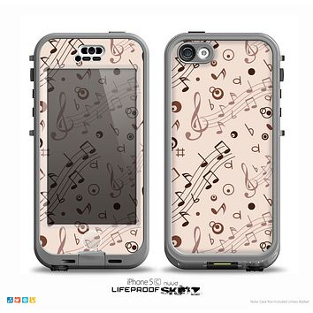 The Tan Music Note Pattern Skin for the iPhone 5c nüüd LifeProof Case