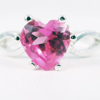 Pink Sapphire Heart Ring Sterling Silver, September Birthstone Ring, Sterling Silver Heart Ring, 925 Sterling Silver Ring, 925 Ring