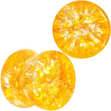 00 Gauge Yellow Shattered Glass Mellow Sunshine Saddle Plug Set