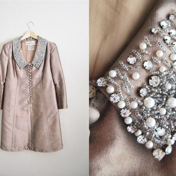 Sophisticated Silk - Vintage Brown Raw Silk Rhinestone Beaded Collar Dress