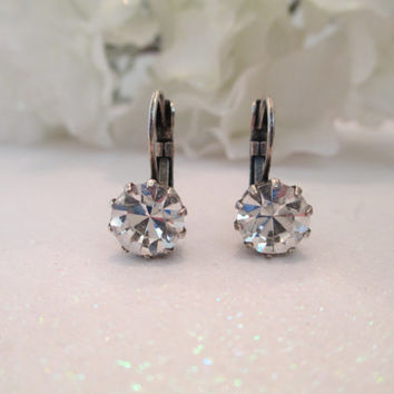swarovski DIAMOND CRYSTAL EARRINGS designer inspired crown setting 8mm antique silver, classic