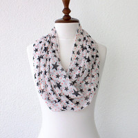 BLACK FRIDAY SALE Black and White Stars Infinity Scarf Loop Scarf Circle Scarf Cowl Scarf Soft and Lightweight