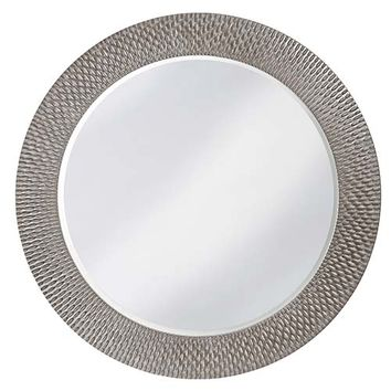 Howard Elliott Collection 2128N Bergman Glossy Nickel Large Round Mirror