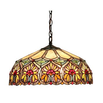 """SUNNYTiffany-style 2 Light Floral Ceiling Pendant Fixture 18"""" Shade"""