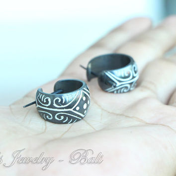 Stick Post Earrings - Black Tribal Bone w Ethnic Mayan Design