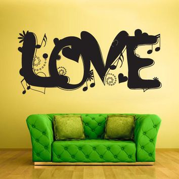 Wall Vinyl Decal Sticker Bedroom Decal Decal Love Word Music Note  z429