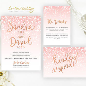 Blush pink and rose gold wedding Invitation sets | Glitter wedding invitation bundle  | Confetti wedding invites | New years eve wedding
