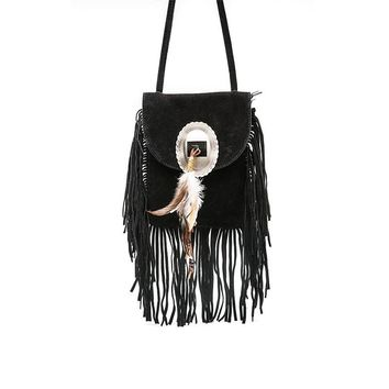 Suede Feather Fringe Bag
