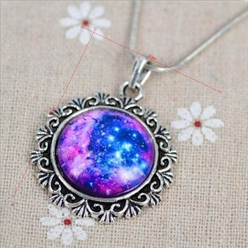 Lovely Color galaxy, nebula, space, Antique silver Tone Alloy pendant necklace Friendship Couple Gift (Size: 0, Color: Multicolor) = 1929794372