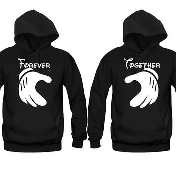 Forever Together Cartoon hands Unisex Couple Matching Hoodies
