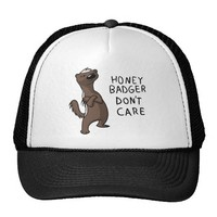 Honey Badger Don't Care Cartoon Hat from Zazzle.com