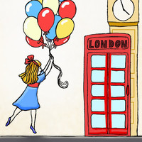 Balloon girl London children decor kids wall art by wonderlaneart