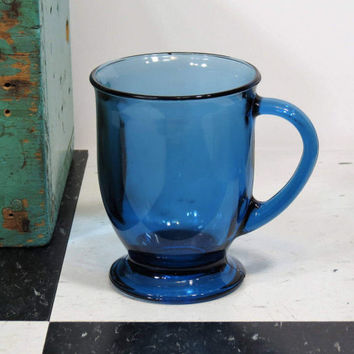 Vintage Anchor Hocking Cobalt Blue Glass Mug . Large Glass Pedestal Coffee Cup