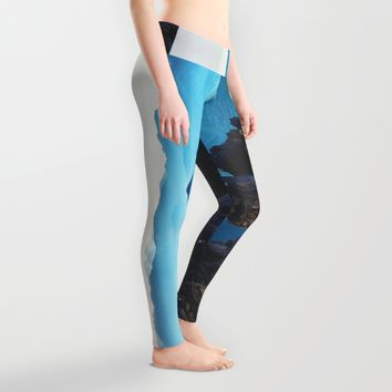 Mountains Breathe Too Leggings by Mixed Imagery