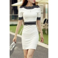 Ladylike Round Neck Short Sleeve Striped Knitted Women's Dress | Kitty's Clawset
