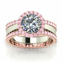 Incredible Pink Sapphire Engagement Ring 10 k Rose Gold and Yellow Gold