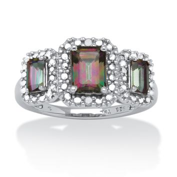 2.09 TCW Mystic Fire Emerald-Cut Topaz Ring With Diamond Accents in Platinum over Sterling Silver