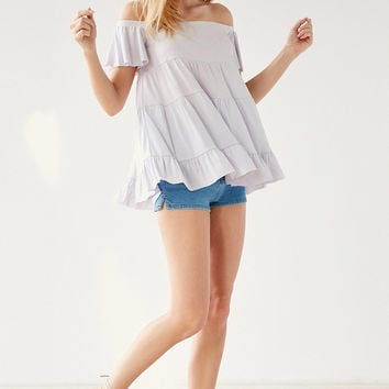 Kimchi Blue Eliza Ruffle Tiered Off-The-Shoulder Tee | Urban Outfitters