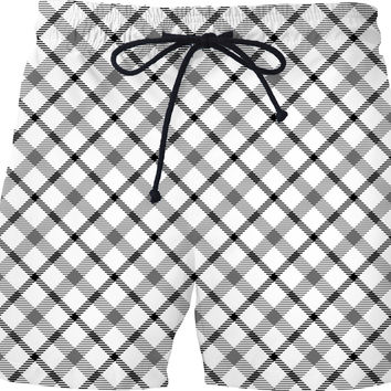 v2 Black and white scottish tartan, buffalo plaid pattern swim shorts design, retro style pants