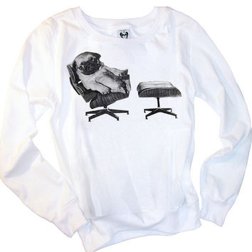 Pug Dog On Eames Chair Jumper L/S T-Shirt Top
