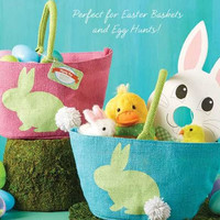 TWO'S COMPANY Easter Bunny Jute Bags - Set of 2
