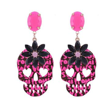 Skull Drop Earings For Woman Crystal Stone Boho Fashion Jewelry