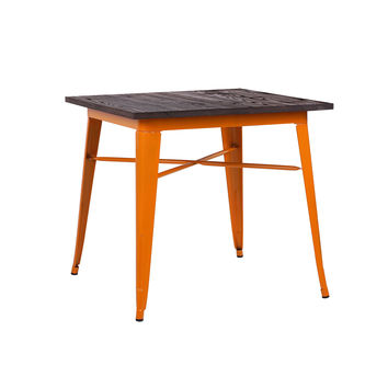 Dreux Glossy Orange + Elm Wood Top Steel Dining Table 30""