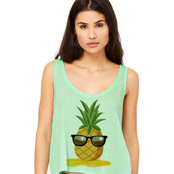 Mint Green Cropped Tank Top - Pineapple Man - Summer Outfit Spring Sand Sunglasses Fruit