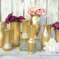 Metallic Gold Vase Collection, Gold Vases for Weddings, Parties, Home Decor, Christmas Decor