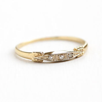 Vintage 14k Yellow & White Gold Diamond Wedding Band Ring - Art Deco 1930s 1940s Size 6 3/4 Fine Engagement Bridal Jewelry