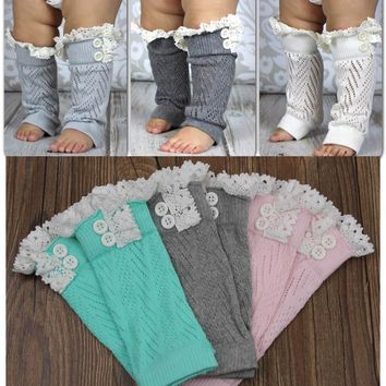 DHL EMS Free Shipping Toddlers Baby Kids Knitted lace Ruffles Leg Warmer,Leggings Baby Clothes/Infant Wear 20 pairs/lot