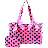 Cute! Quilted Polka Dot Print Baby Girl Diaper Bag Tote Purse (Pink/Brown)