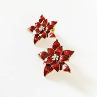 Eisenberg Ice Signed Poinsettia Pierced Earrings, Christmas Flower, Red Studs, Festive Holiday Jewelry