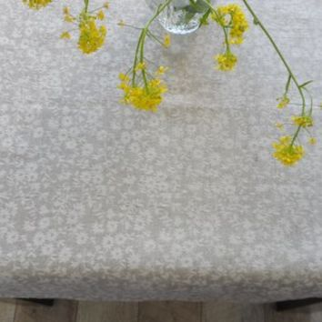 Gray jacquard linen tablecloth. Natural linen tablecloth 56 Х 120. Jacquard tablecloth. Wedding gift