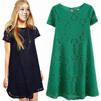 Ladies Vintage Bohemian short sleeve lace dress bottoming dress loose = 1928500740