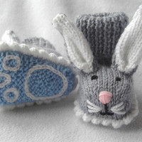 Boppity Bunny Rabbit Booties with Embroidered Soles by scunjeebabe