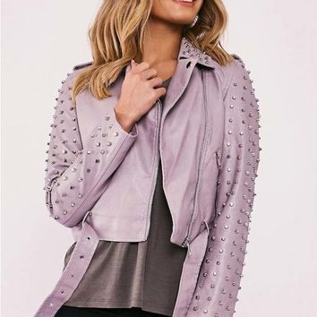 KAMIA GREY FAUX LEATHER STUDDED BIKER JACKET