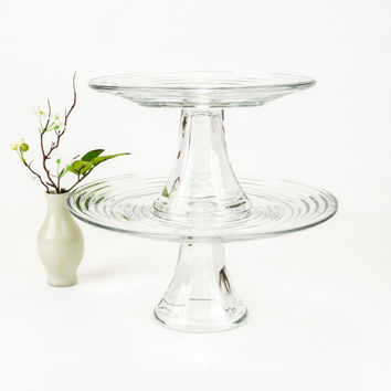 Vintage Pair of Cake Stands / Tiered Cupcake Stand / Wedding Cake Stands